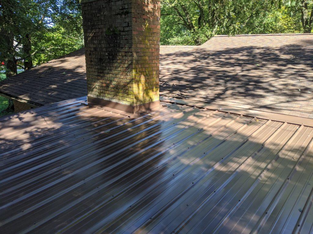 brown metal roof on residential home