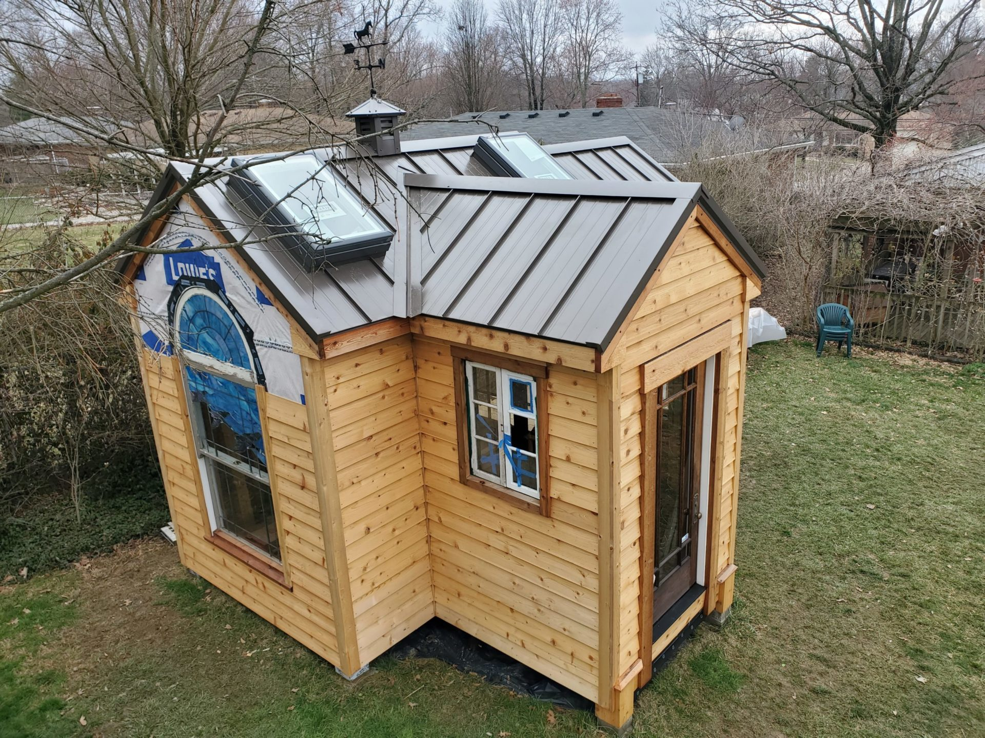 Top view of new metal restoration on shed