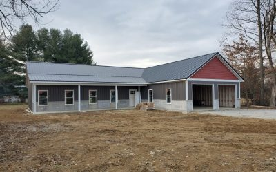 grey metal roof on new house