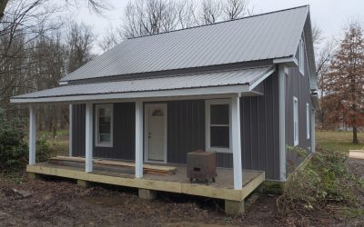new metal roof on grey building